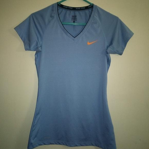 9d22d1fcec8 Nike Tops   Pro Blue Vneck Training Tshirt Womens Small   Poshmark